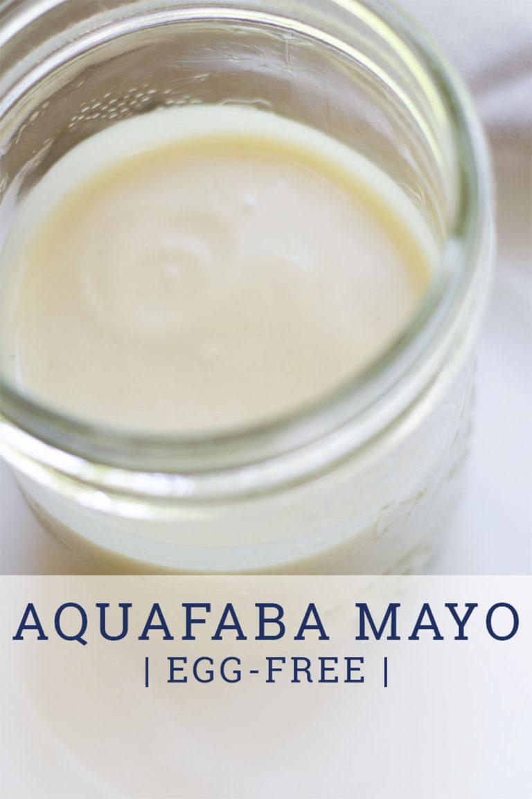 aquafaba mayo in glass jar